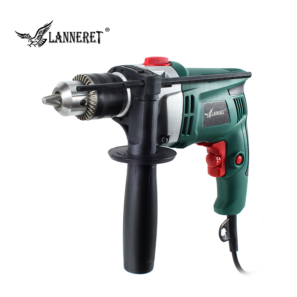 LANNERET 710W Electric Drill Hammer Drill Impact Drill Multi-function Adjustable Speed Woodworking Power Tool free shipping original electric hammer drill speed control switch for bosch tsb1300 gsb500re power tool accessories