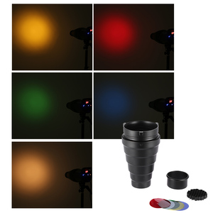Image 5 - Metal Conical Snoot with Honeycomb Grid 5pcs Color Filter Kit for Bowens Mount Studio Strobe Monolight Photography Flash