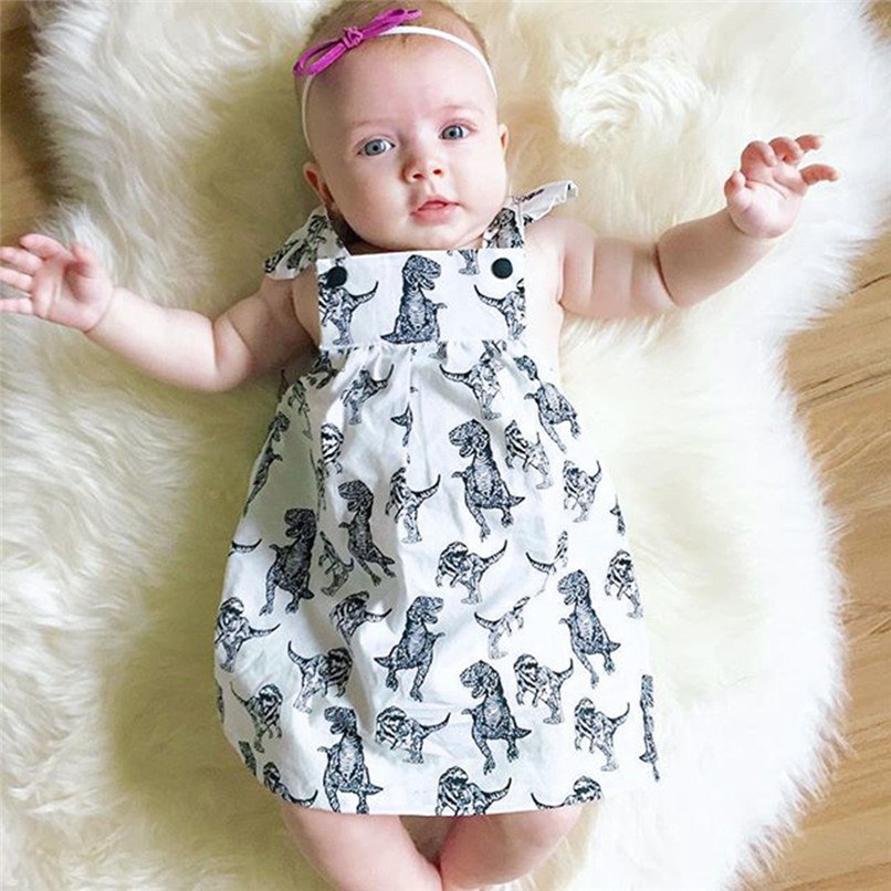 Summer Girls Dress Infant Toddle Baby Girls Cotton Cartoon Dinosaur Print Bow Sleeveless Clothes Princess Dress A84L30
