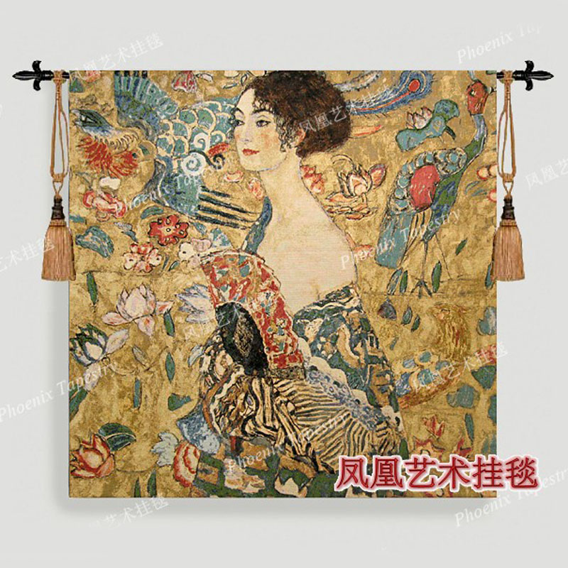 The world famous paintings Klimt holding fan dress women picture decor wall hanging tapestry big 138X138cm home textile H136-in Tapestry from Home & Garden    1