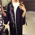 2016 Apliques Decoração Dubai Abaya Manto de Cetim Wraps Casaco de Design Da Frente Aberta Preto do Assoalho-Comprimento Vestidos de Noite Do Oriente Médio 509