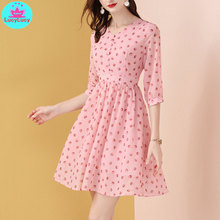 2019 summer new age-reduced slim A-line  pink chiffon polka dot dress Knee-Length Zippers
