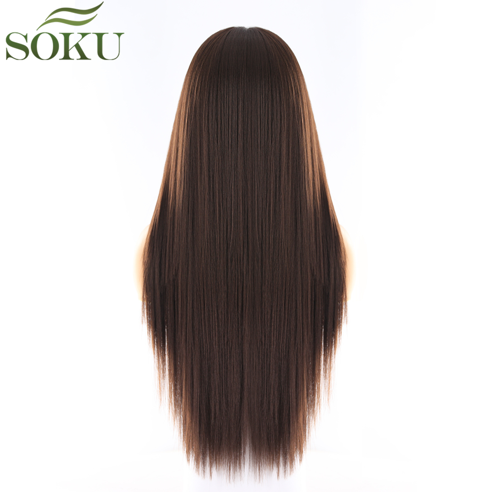 Image 4 - Synthetic Lace Front Wigs Long Straight Middle Part Wig SOKU 130% Density Glueless Heat Resistant Fiber Wigs For Black Women-in Synthetic Lace Wigs from Hair Extensions & Wigs