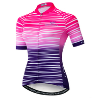 2019 Keyiyuan Women's Spring and Summer Pink Purple Line Gradient Jersey Short Sleeve Tops Breathable Sweat Road Bike Clothes