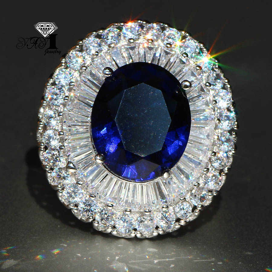 YaYI Perhiasan Mode Princess Cut 5.5CT Biru Zircon Warna Silver Engagement Rings wedding Rings Partai Rings