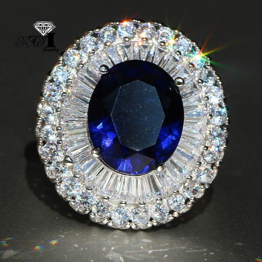Yayi Schmuck Mode Prinzessin Cut 5.5ct Blau Zirkon Silber Farbe Verlobungsringe Hochzeit Partei Schellt Aromatischer Geschmack Verlobungsringe