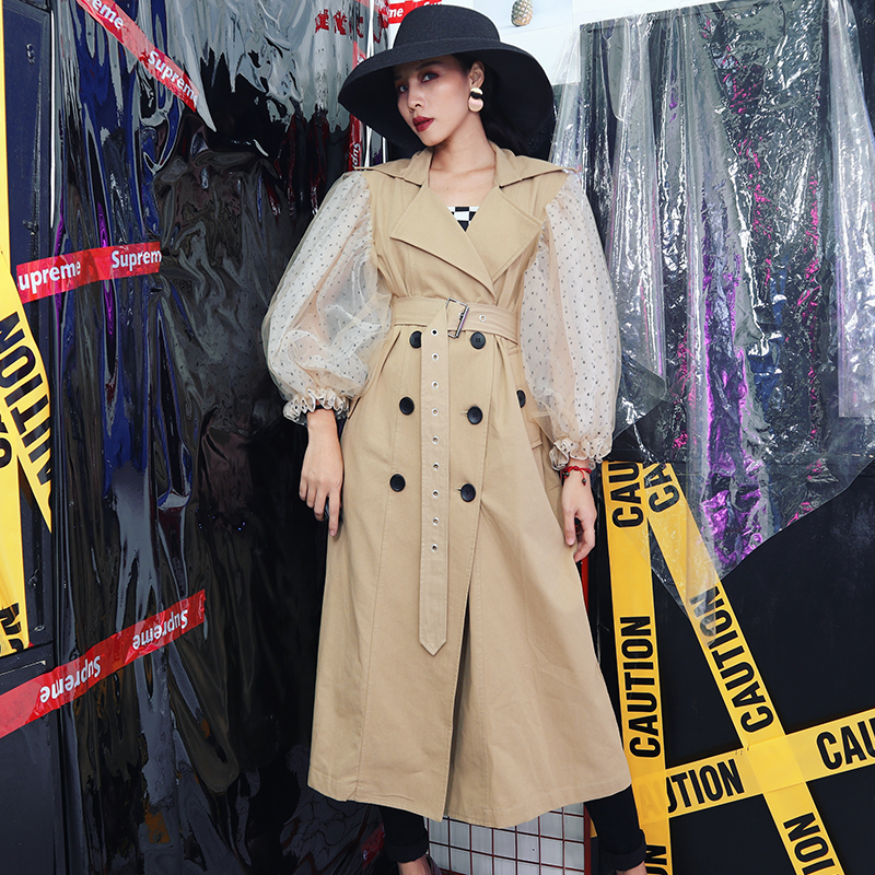 Autumn Patchwork Long Coat Women Sashes With Mesh Lantern Sleeve Windbreaker   Trench   Double Breasted Slim Vintage Clothing