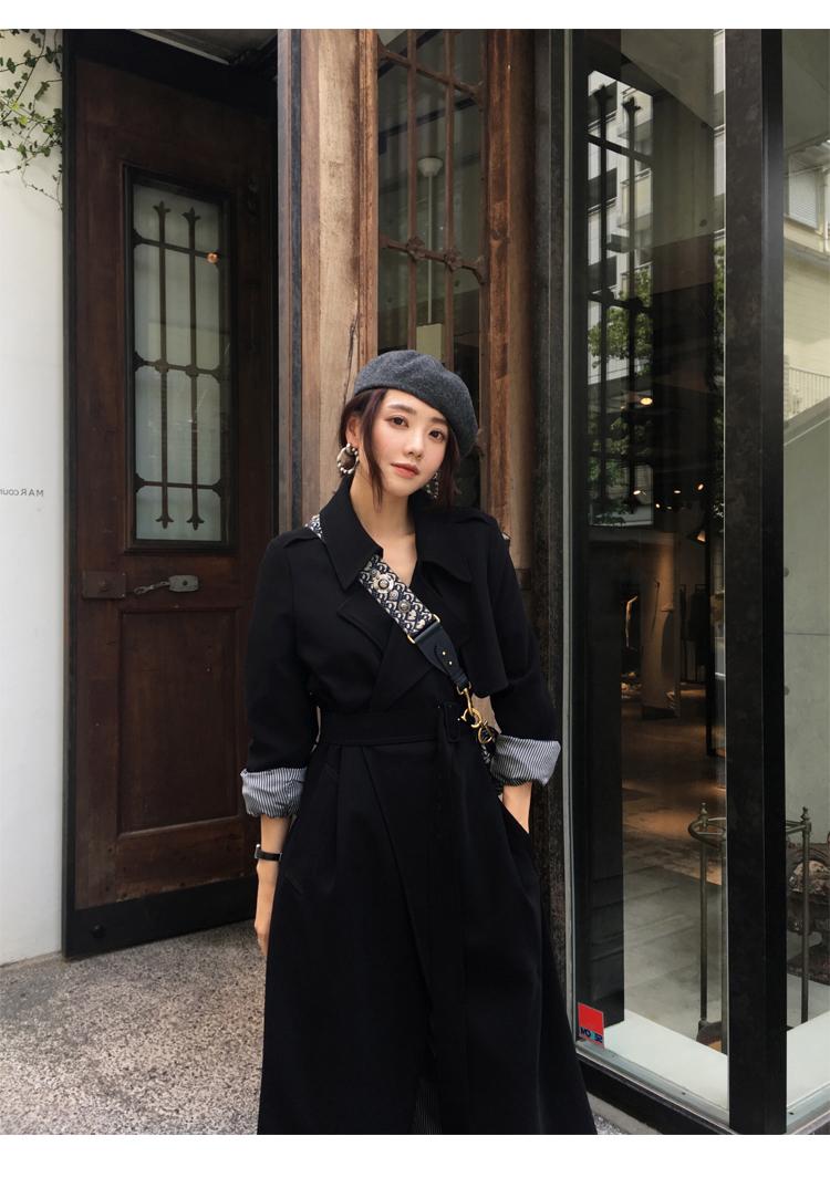 Spring Autumn Maxi Long Women's Loose Trench Coat With Belt Khaki & Black Plus Size Korean Style Windbreaker Outwear 10