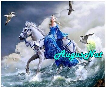 5d cuadrado completo diamante pintura mujer caballo diamante bordado puntada mar onda pintura al óleo por número paisaje nuevo
