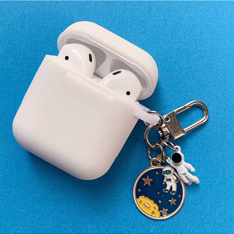 Cosmic Astronaut Spaceman Silicone Case for Apple Airpods 1 2 Accessories Case Protective Cover Bag Box Earphone Case Key ring in Earphone Accessories from Consumer Electronics