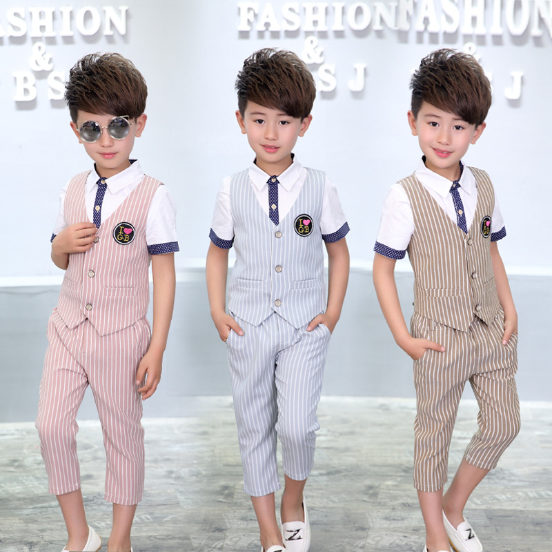 5b2859198 Striped Baby Boy Prom Suit ( vest + shirts + Pant ) Summer Gentle Kids  Costumes Wedding Flower B Dress Khaki Pink Sky blue-in Clothing Sets from  Mother ...