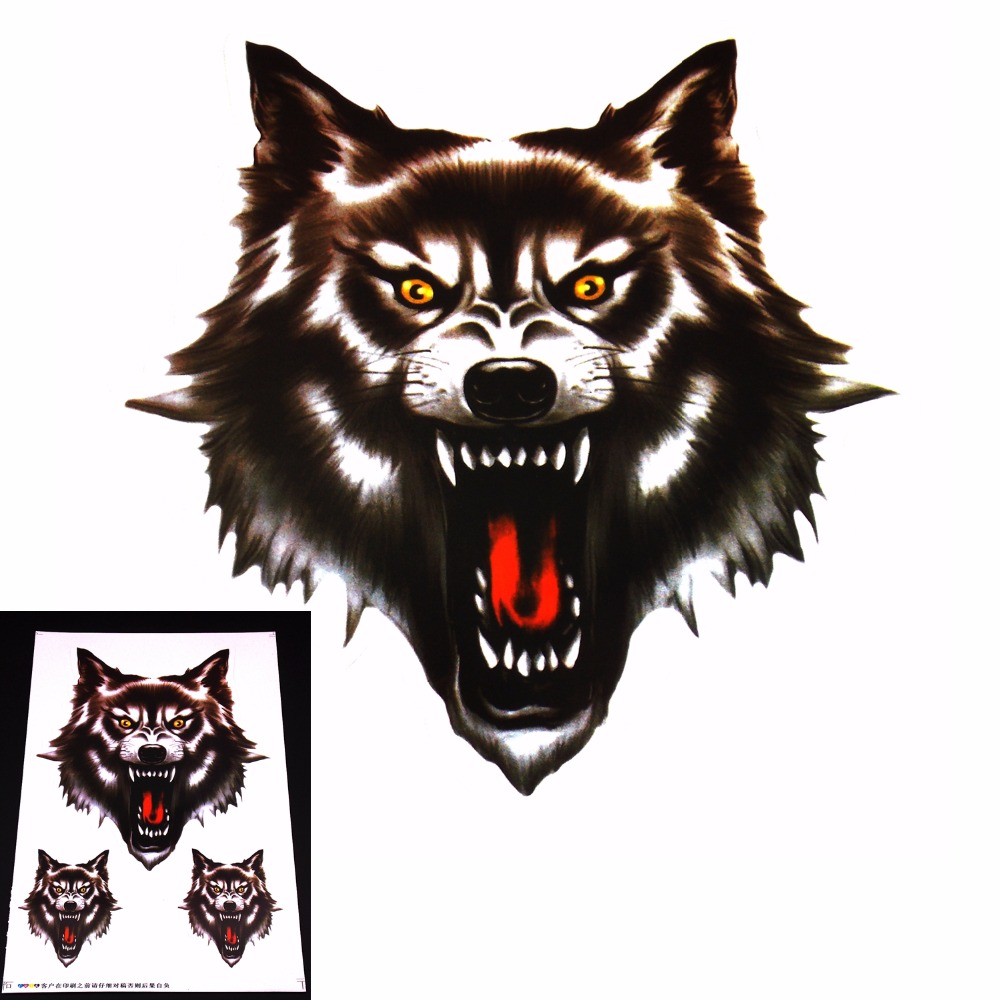 Bike sticker design online - Motorcycle And Car Hoods Trunk Whole Body Animal Anger Ferocious Wolf Decal Personalized Car Sticker