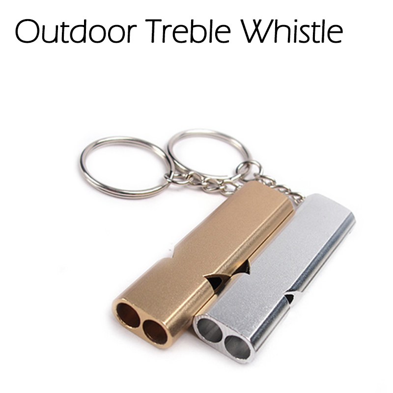 Outdoor Double-frequency Whistle Emergency EDC Survival Tool Keychain Aerial Aluminum Alloy Camping Hiking Accessory Tool outdoor survival aluminum alloy whistle w keychain black 5 pcs