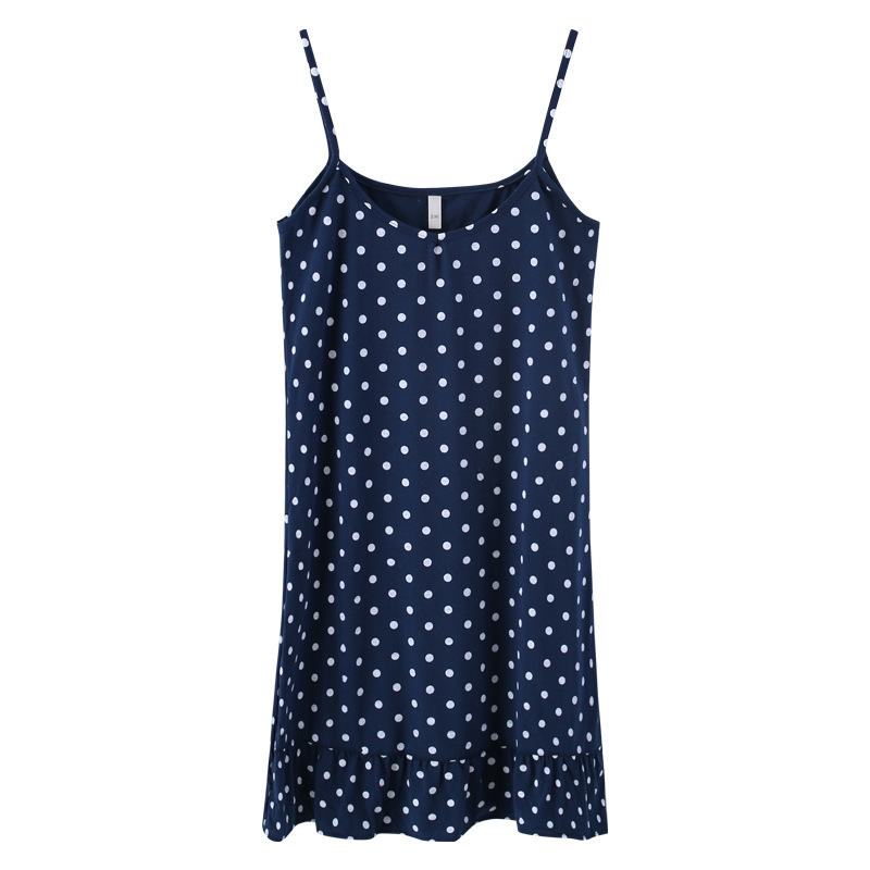 Polka Dot Spring With Hair Band Spaghetti Strap Homewear   Nightgown   Nightdress Girls   Sleepshirt   Cotton Sleeveless Lounge D87408
