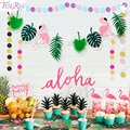 FENGRISE Flamingo Party Decoration Happy Birthday Banner Flag Garland Hawaiian Luau Tropical Coconut Leaves Event Party Supplies