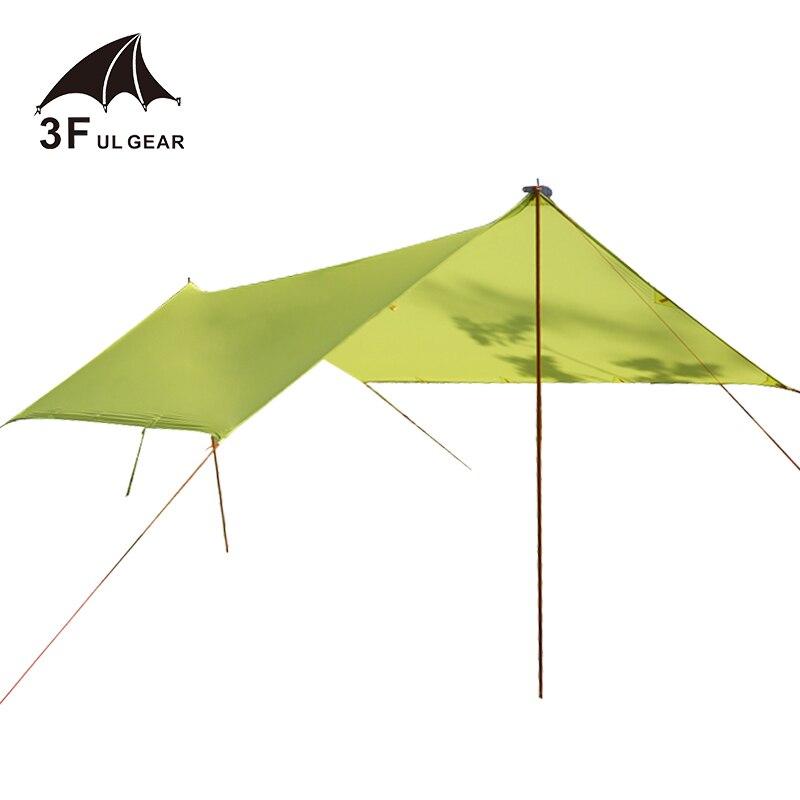 Abri de soleil de bâche en Nylon enduit de Silicone imperméable ultra-léger de l'engrenage 3F UL 15D pour l'auvent d'auvent de tente de Camping de hamac