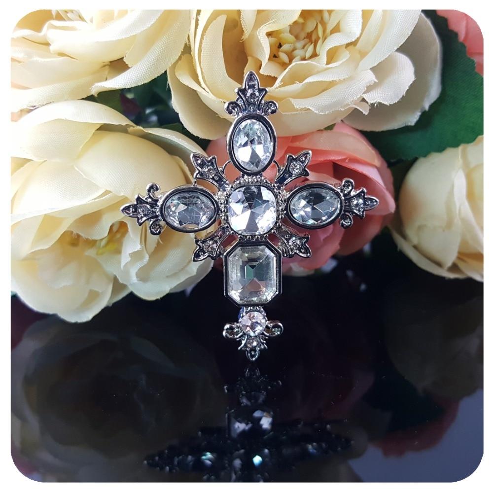 Vintage Style Crystal Gothic Cross Brooch Pin - Նորաձև զարդեր - Լուսանկար 4