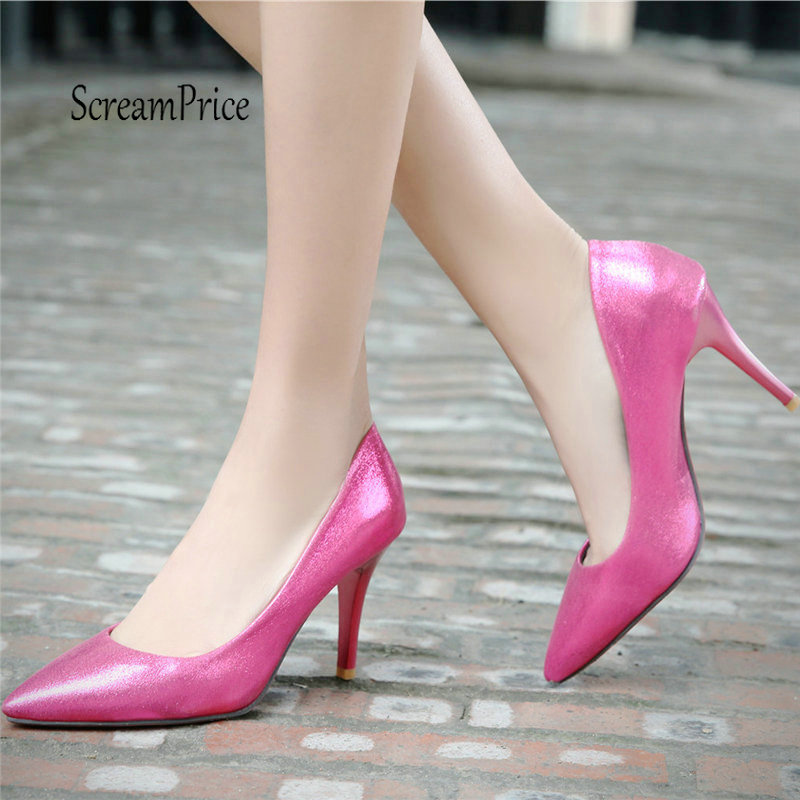 Women Sexy Thin High Heel Pumps Fashion Pointed Toe Spring Fall Shoes Red Blakc Gold minglilai blakc sliver 37