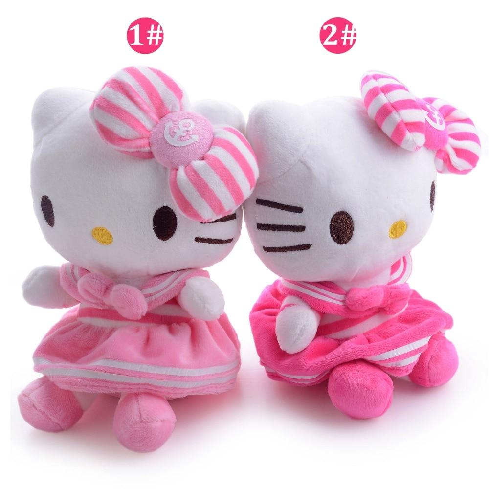 Cute Hot Pink Floral Hello Kitty Cartoon Cat Plush Hello