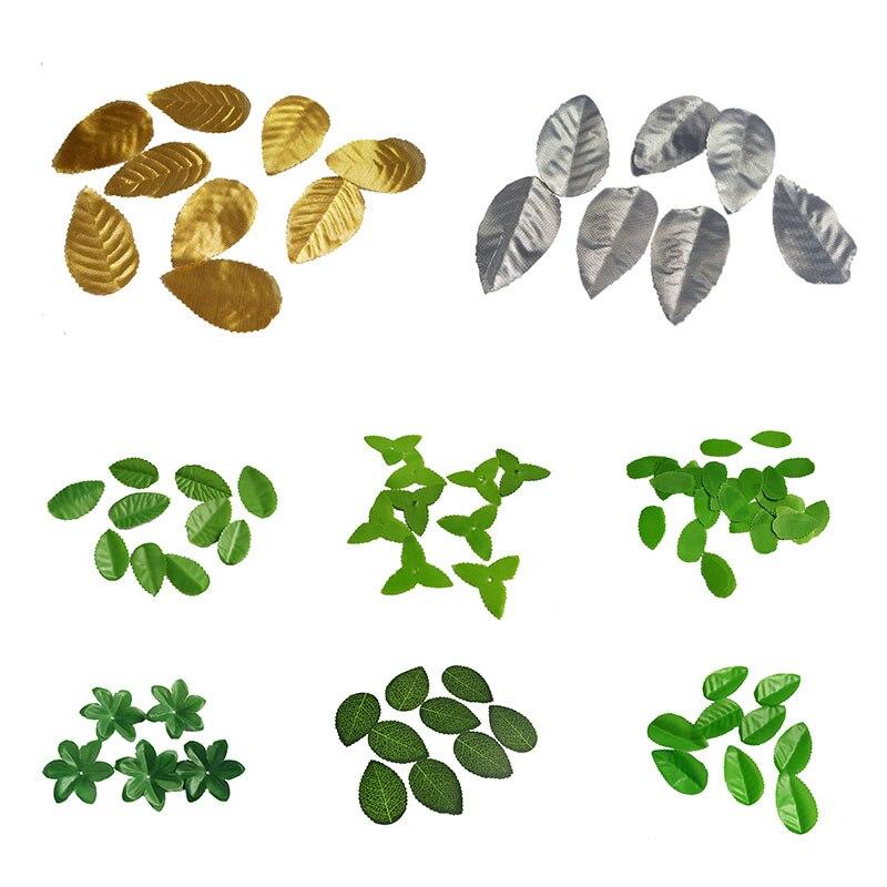 10 г искусственный цветок нейлон шелк листья зеленые листья для Свадебные украшения декоративный венок подарок Скрапбукинг рукоделия