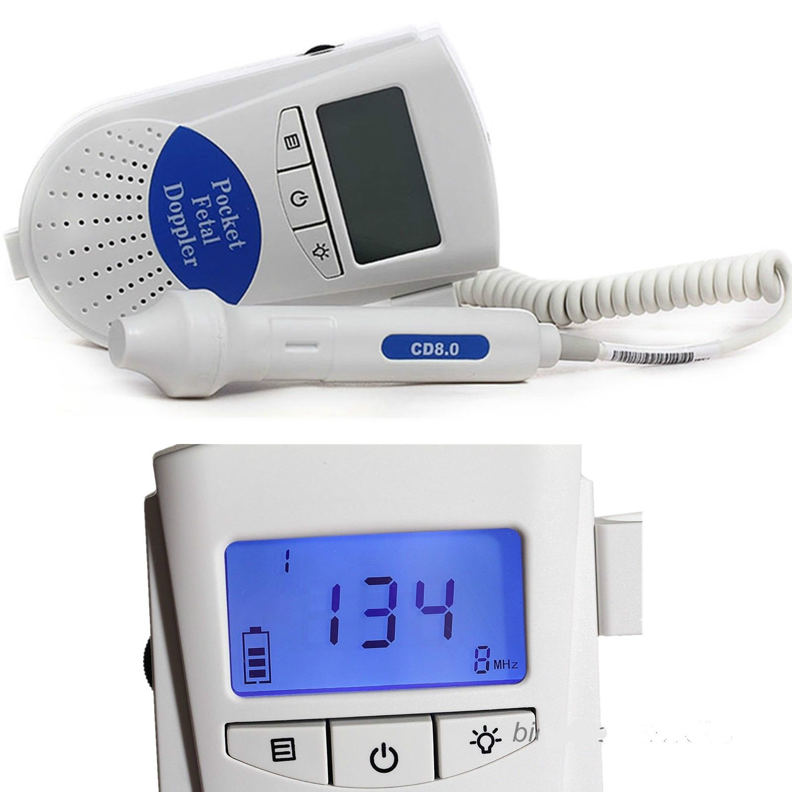 CE/FDA 8MHz Fetal Doppler with LCD Display Home Care Monitor 100% High Quality