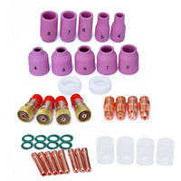 40pcs Collets Body Stubby Gas Lens + 17CB20G Collets Body #10 Pyrex Glass Cup Assemble Kit For Tig WP 17/18/26 Welding Torch Dro
