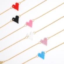 Shinus 10pcs/lot Pulseras Mujer MIYUKI Bileklik Heart Pattern Summer Stainless Steel Chain Bead Loom Handcrafted Statement 2019