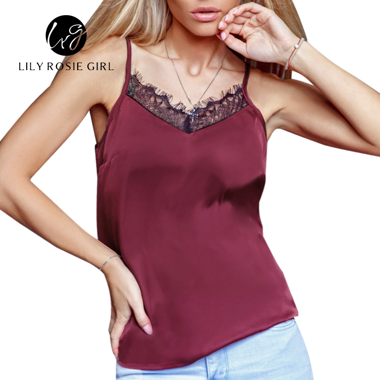 2016 Satin Women's Shirt Mike Strap Elegant Crop Top Sexy V neck Camis Women Short Sleepwear Female Lace Top Summer Party Blusa