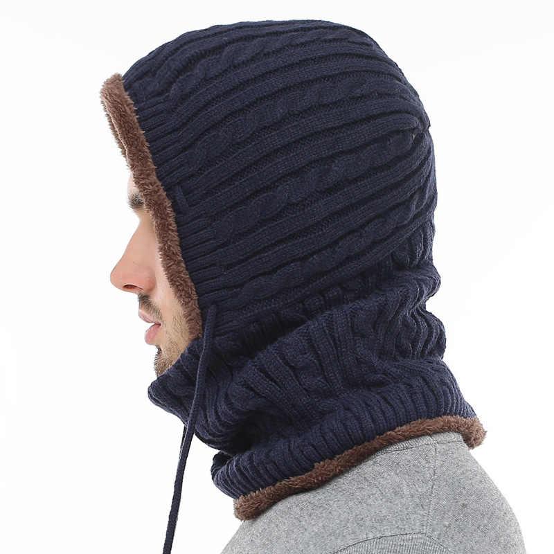 AETRUE kış örme şapka bere erkekler bere Skullies Beanies kış şapka kadınlar erkekler için kapaklar Gorras kaput maskesi marka şapkalar 2019