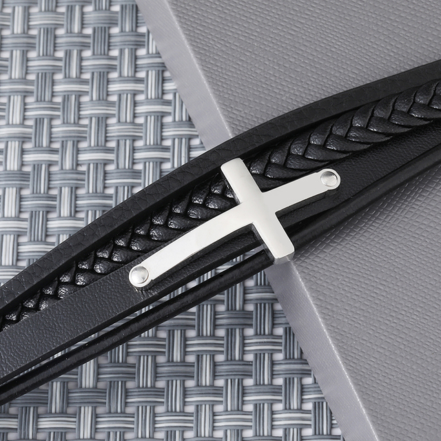 D&Z Stainless Steel Silver Color Cross Crucifix Bracelets Fashion Multilayer Leather Bracelet For Men's Hand Jewelry