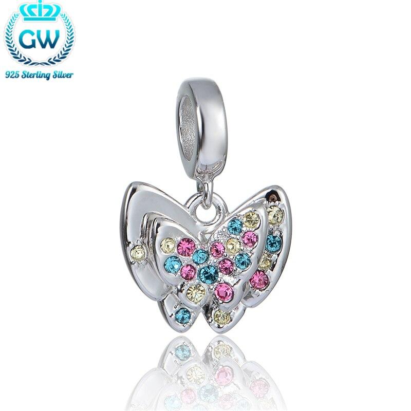 925 Euro Stříbrné Ženy Stříbrné Vícebarevná Kameny Motýl Korálky Náramky Náramky Náramky Náramky 2016 Nový S398