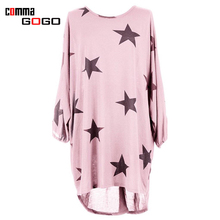 Plus Size Pink Loose Dress Women O Neck Star Print Dresses Casual 2017 Summer New Fashion Dress Woman Elegant Vestidos Robe
