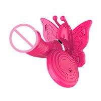 Double Vibrating Butterfly Dildo Sex Toy Masturbate Waterproof 6 Mode Wireless Remote Control G Spot Stimulation Vibrator