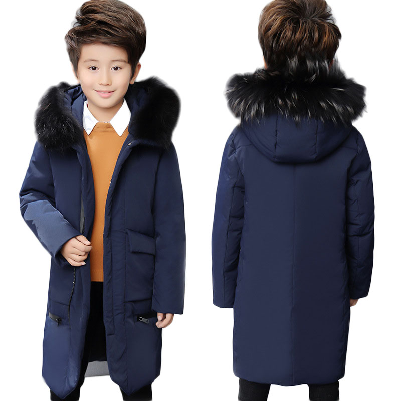 Winter Boys Warm White Duck Down Jackets Teenage Kids Raccoon Fur Collar Hooded Outerwears Children Long Thick Overcoats P203 недорого