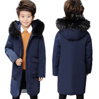 Winter Boys Warm White Duck Down Jackets Teenage Kids Raccoon Fur Collar Hooded Outerwears Children Long Thick Overcoats P203