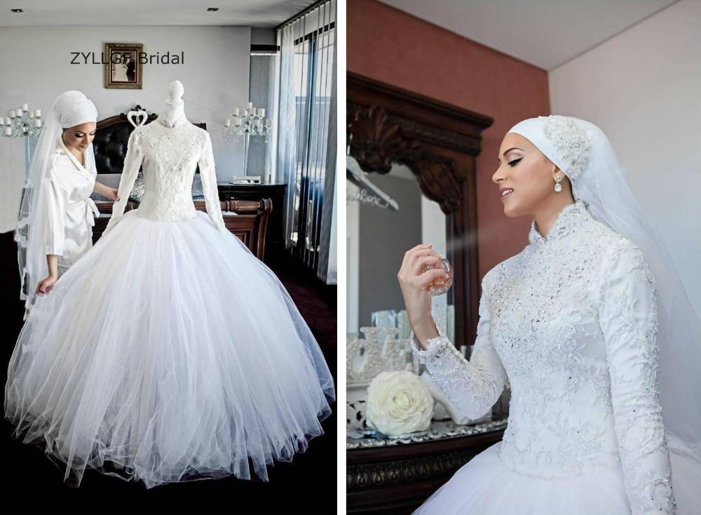 ZYLLGF Bridal Ball Gown High Neck Hijab Wedding Dress Long