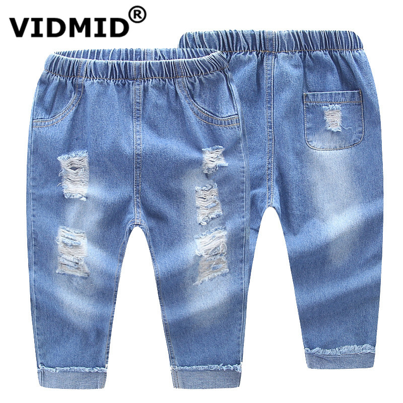 VIDMID Kids full length pants trousers baby boys girls jeans boys ripped denim hole jeans 2