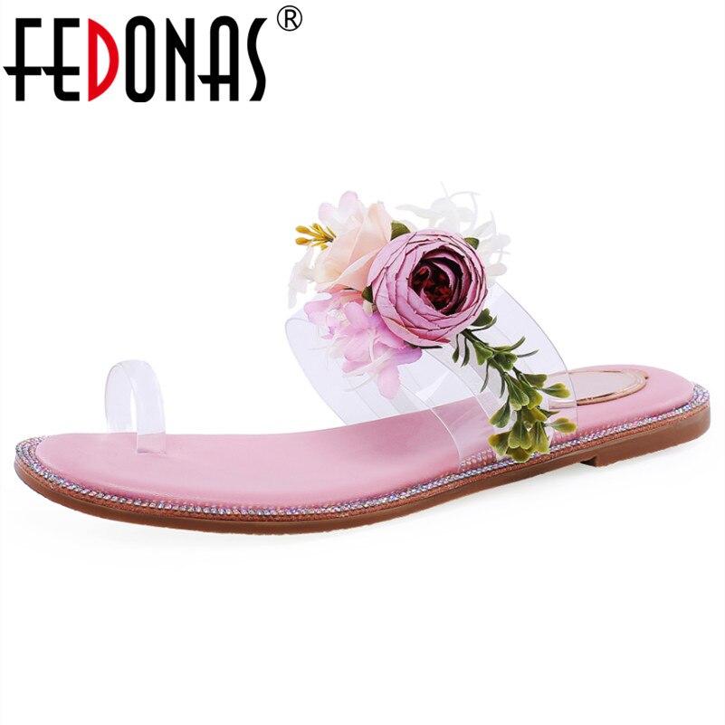 Fedonas Zomer Zoete Sandalen Voor Vrouwen Nieuwe Mode Bloemen Decoratie Casual Slippers Mooie Meisje Sandalen Basic Schoenen Vrouw