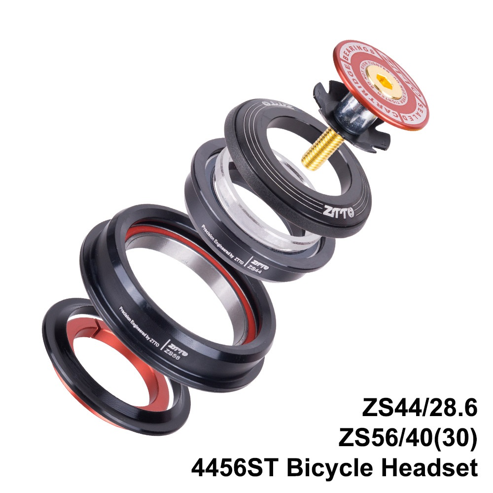 "4456ST Bike Road Bicycle Headset 44mm 56mm CNC 1 1/8""-1 1/2"" 1.5 Tapered 28.6 Straight Tube Fork Internal 44 56 Headset Top Cap"
