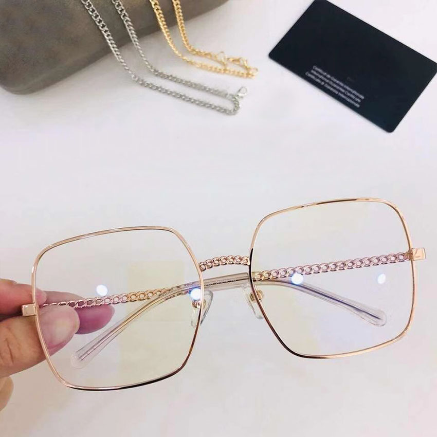 Brille pink navy So light Brillen Transparente Große amp; Kette Grey Platz Rahmen Retro Designer silver Frau chocolate Gray Metall gold Marke brown Sams Dekoration SYwa5Rqw