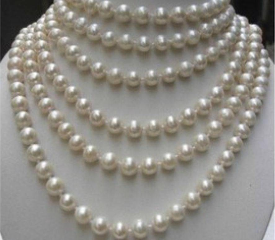 Wholesale price 16new ^^^^8-9MM NATURAL WHITE Akoya Cultured PEARL NECKLACE LONG 100 INCHES RTY4530 long 80 inches 7 8mm white akoya cultured pearl necklace beads hand made jewelry making natural stone ye2077 wholesale price