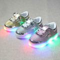 2016  brand new boys/Girls shoes LED luminous white shoe colorful lights Kenny magic button children baby Boys and Girls shoes
