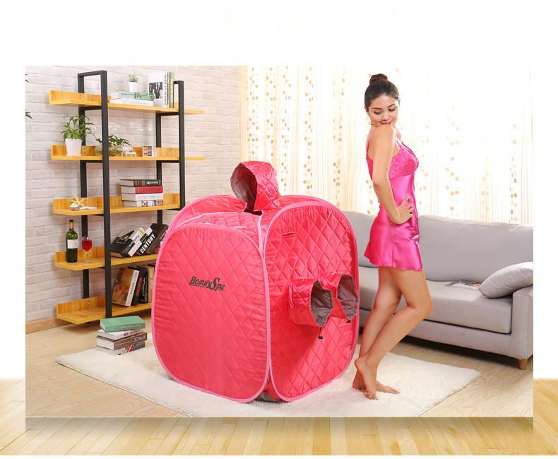 2 People Portable Folding family with three Steam Sauna Box Khan Steam Room+2.0L Sauna Steamer Steam Generator Pot