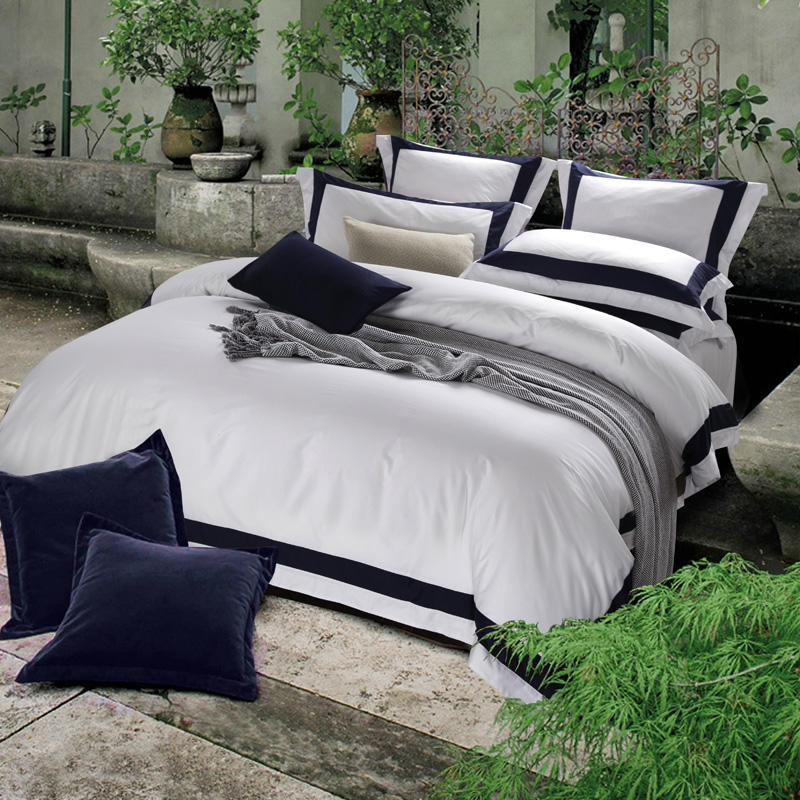 Premium Satin Egyptian Cotton Bedding Set 4 piece Hotel Style Square Framed Duvet Cover Set Flat/fitted Sheet Sets Bed Linen