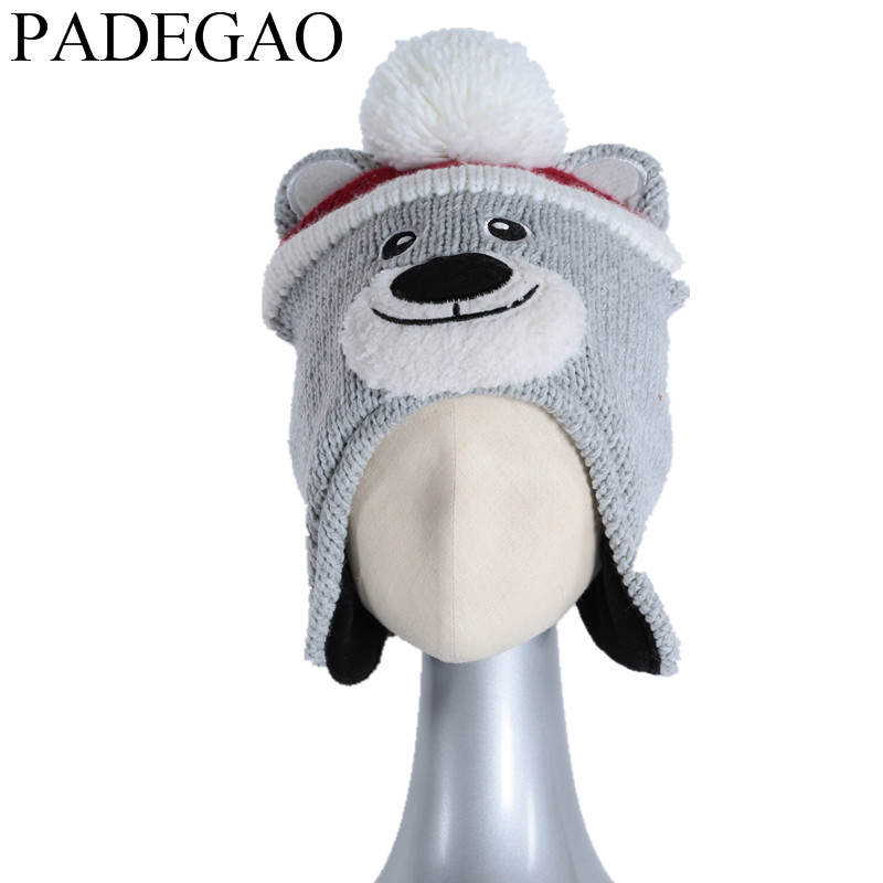 GOOD HAT Lovely cartoon bear  style Boys girls beanie hat Children knit cap Kids Wear beanie for autumn  winter Cute Hats 1pc the new children s cubs hat qiu dong with cartoon animals knitting wool cap and pile