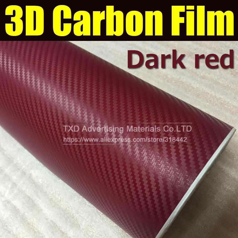 30x127cm 12 x50 dark red 3d carbon fiber film vinyl sticker car body interior decoration 3d. Black Bedroom Furniture Sets. Home Design Ideas