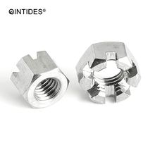 купить QINTIDES M6 M8 M10 M12 M14 M16 M18 M20 Hexagon slotted thin nuts 304 stainless steel hexagon nut slotted nut дешево