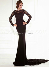 Vestido De Festa Longo Long Sleeve Prom Dress 2015 Elegant Black Mermaid Fast Shipping Formatura