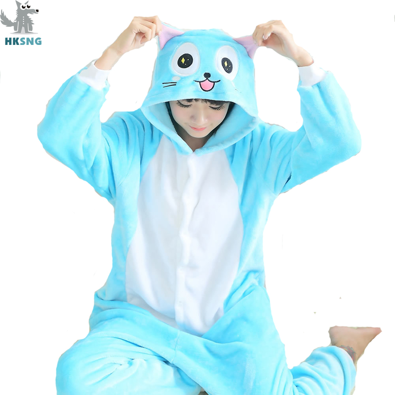 HKSNG High Quality Animal Adult Blue Cute Fairy Tail Happy Cat Pajamas Flannel Kigurumi Onesies Cosplay Costumes For Women Men