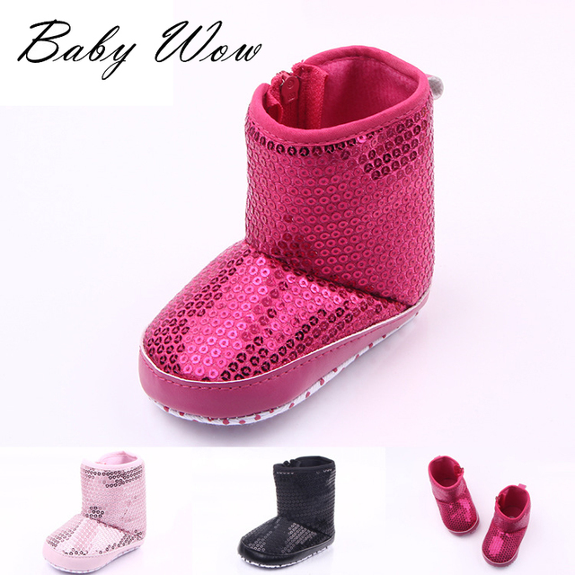 Baby Boys And Girls Winter Warm Shoes Princess Soft Bottom Tall Canister Boots Kids Sequined Footwear First Walkers tyh-30386